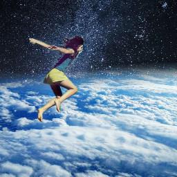 freetoedit girl stars sky clouds