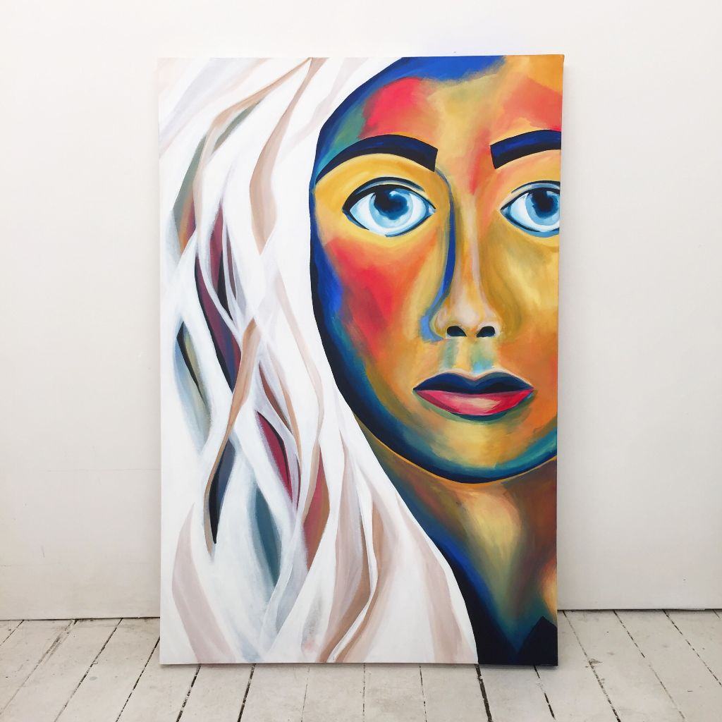 'White Hair Beauty'  Acrylic on canvas 91 cm X 60cm  #art #profile  #acryliconcanvas  #painting #portrait #flowers #fashionillustration #fashionart #hair #hairillustration #hairart #portrait