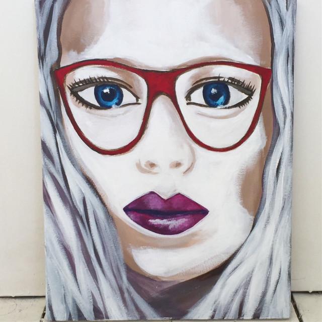 'Lady in Red' Acrylic on canvas 32cm X 40cm  #art #profile  #acryliconcanvas  #painting #portrait #flowers #fashionillustration #fashionart #hair #hairillustration #hairart