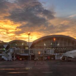 interesting sunset landscape panorama airport freetoedit