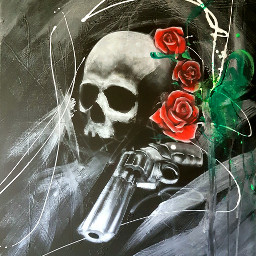 dailyinspiration blackandwhite skull colorsplash flower freetoedit