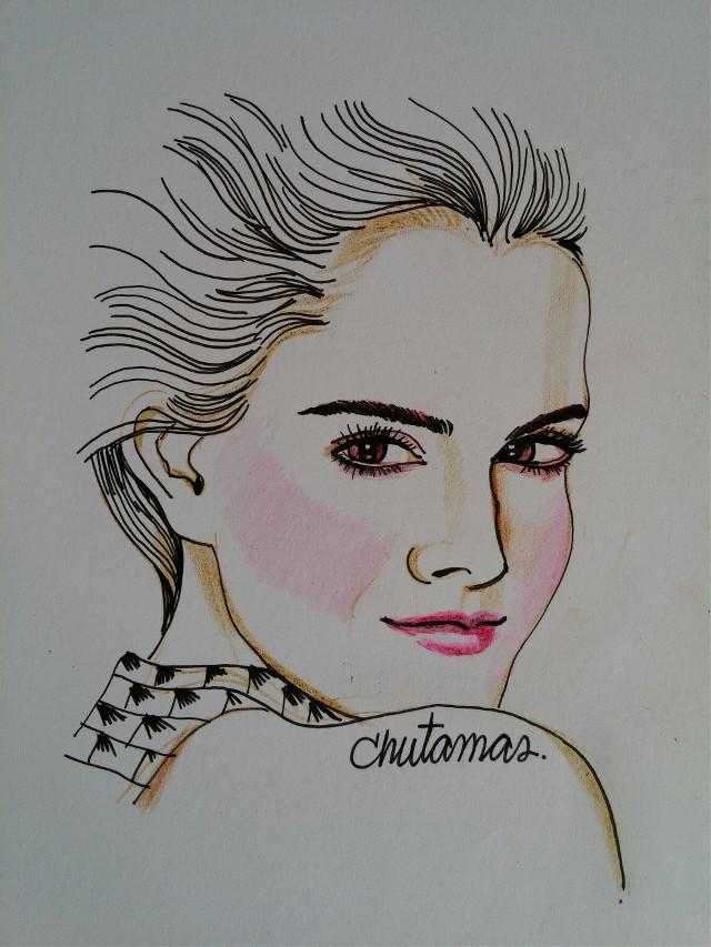 #drawing  #blackpen  #coloredpencils Emma Watson🌹🌹
