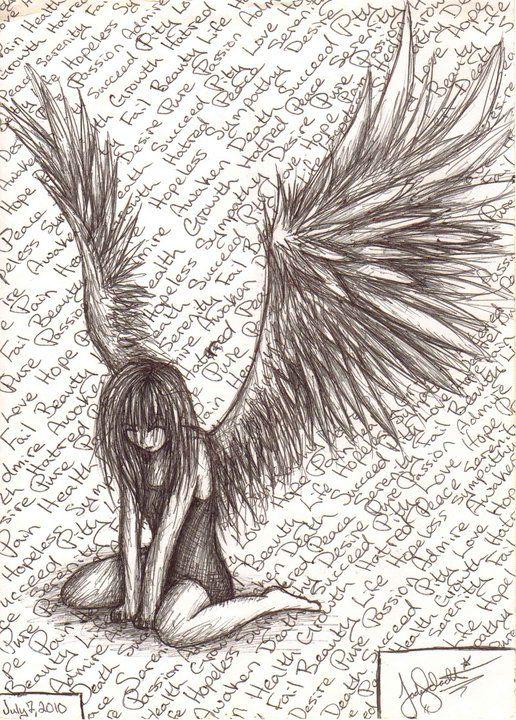 Fantasy Anime Angel Girl Beautiful Drawing