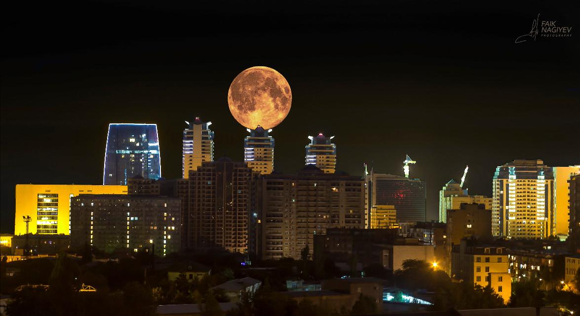 Supermoon over Baku