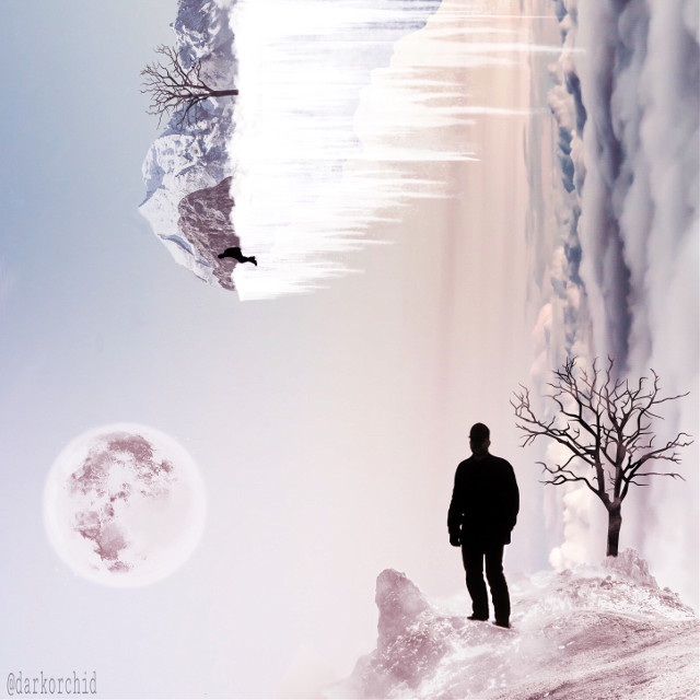 'Edges of the World' Made with images from PA account, with PA cliparts and some drawing. #wapsidewayshike #madewithpicsart #edgeoftheworld #snow #silhouettes #FreeToEdit