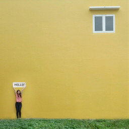 minimalis minimalism minimalist wall yellow
