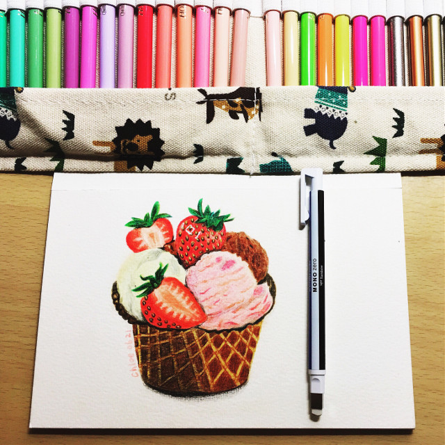#draw #drawing #paint #painting #sketch #colorful #pencil #pencilart #summer #sweet #icecream #fruit #food #strawberry #life