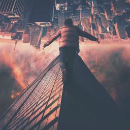 people sky edited upsidedown surreal