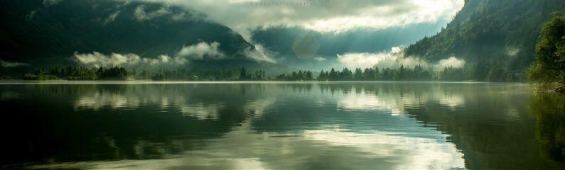 mountains lake fog reflections travel freetoedit