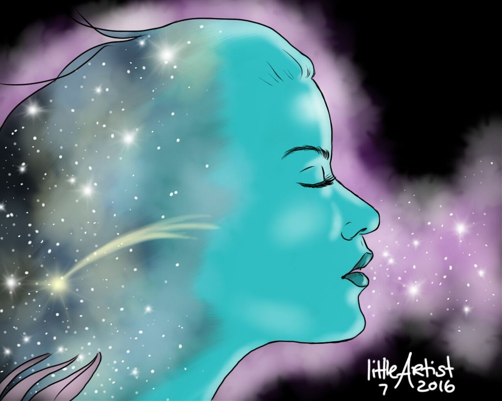 Make a wish 🌌  #digitalart #sketchbookpro #painting #galaxy #shootingstar #art #illustration #drawing #people  #lights #fantasy #nature #colorful #artwork #doubleexposure