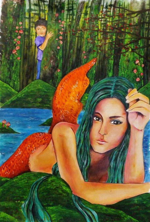 Sirena y niño