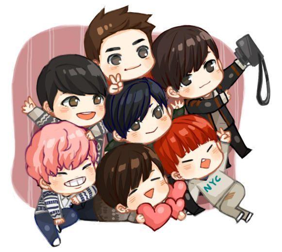 Bts Member Love Selfie Cute Anime