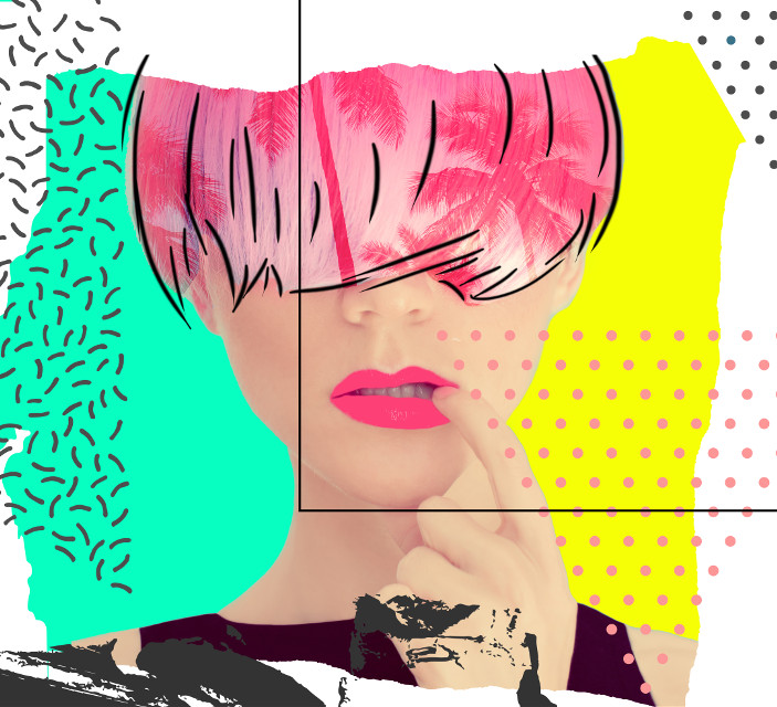 #crazy #collage #design #graphicdesign #fashion #style #frame #colors #wrappedpaper #lips #pink #dot #dotart