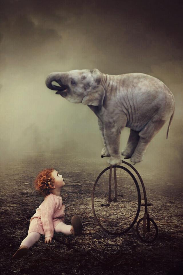 Look mom no hands!   #myart #madewithpicsart  #elephant #friends