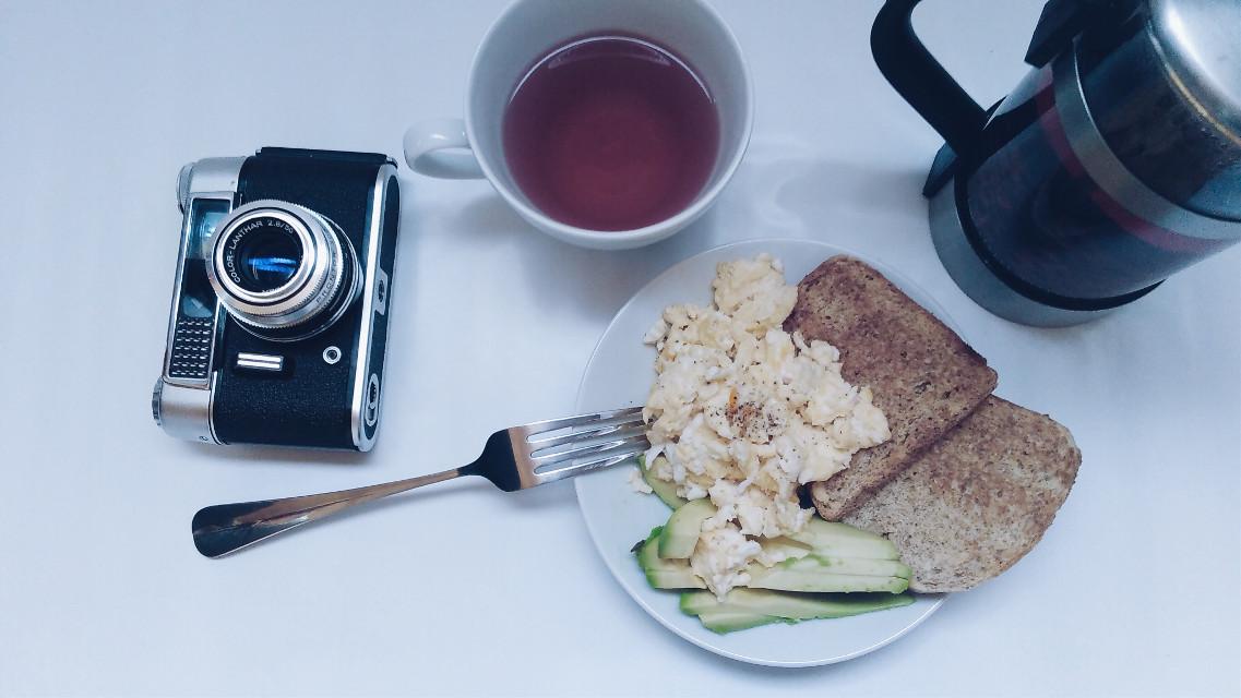 #FreeToEdit #breakfast #avocado #toast #tea #whitebackground