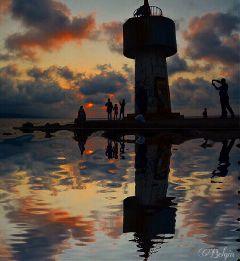 reflection silhoutte sunset sky clouds freetoedit